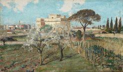 Garden landscape from Rome | Carl Skanberg | Oil Painting
