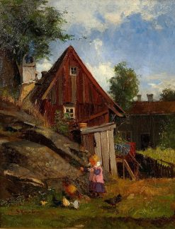 Girl with Chickens | Carl Skanberg | Oil Painting