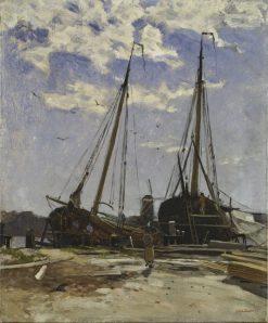 Study for Dordrecht Harbour | Carl Skanberg | Oil Painting