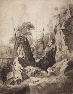 Trees on the Rocks   Ivan Ivanovich Shishkin   Oil Painting