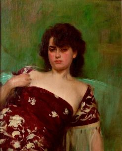 Júlia en granate | Ramon Casas y Carbó | Oil Painting