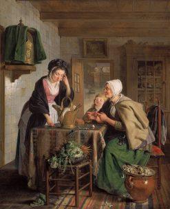 Returning from the Market | Adriaan de Lelie | Oil Painting