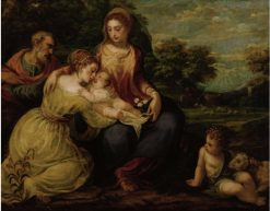 Holy Family with St Catherine and John the Baptist | Andrea Schiavone | Oil Painting