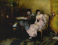 Jeune femme en rose avec son enfant   Pascal Dagnan-Bouveret   Oil Painting