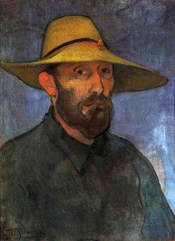 Self-portrait in a straw hat | Wladyslaw Slewinski | Oil Painting