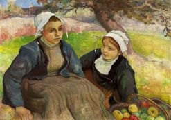Two Breton women with a basket of apples | Wladyslaw Slewinski | Oil Painting
