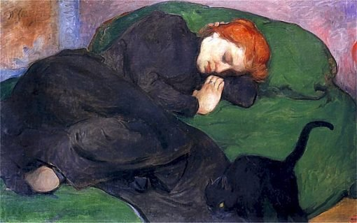 Sleeping woman with a cat | Wladyslaw Slewinski | Oil Painting