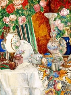 Still life with porcelain vases and flowers | Alexander Golovin | Oil Painting