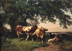 Cows under the Trees | Ivan Ivanovich Shishkin | Oil Painting
