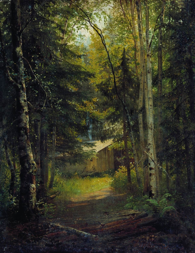 Bridge in the woods Hand painted Oil Shishkin Ivan Ivanovich Russia artist