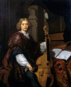 A youth with a viola da gamba | Jan Verkolje | Oil Painting