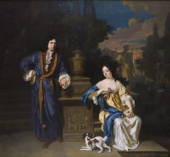 A Gentleman and a Lady in a Park   Jan Verkolje   Oil Painting