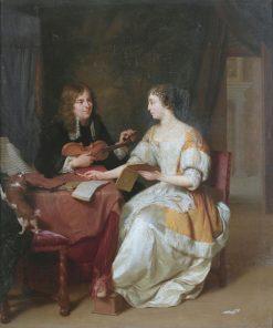 An elegant couple making music in an interior   Jan Verkolje   Oil Painting