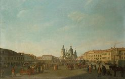 View of the Sennaya Square in Petersburg | Benjamin Patersen | Oil Painting