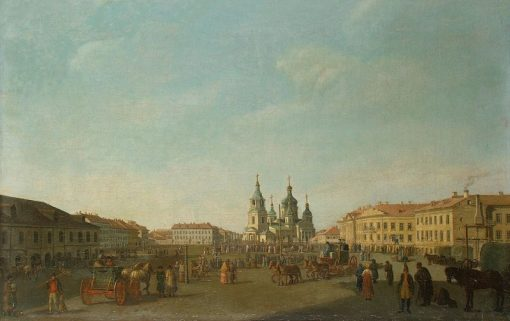 View of the Sennaya Square in Petersburg | Benjamin Patersen | Oil Painting