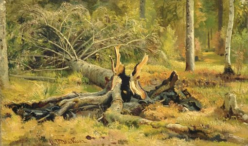 A Fallen Tree | Ivan Ivanovich Shishkin | Oil Painting