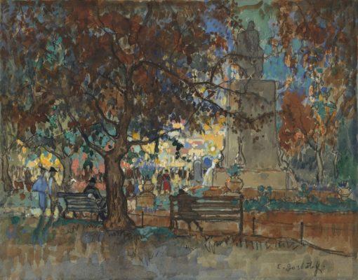 View of Leicester Square | Konstantin Gorbatov | Oil Painting