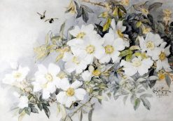 White Roses and Bees | Paul De Longpre | Oil Painting