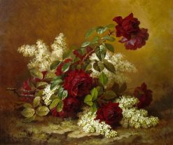 Still Life With Red Roses And Lilacs | Paul De Longpre | Oil Painting