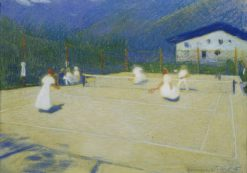 Tennis Court in Gossensass | Ludwig Ferdinand Graf | Oil Painting