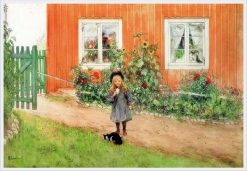 Brita With A Cat And A Sandwich | Carl Larsson | Oil Painting