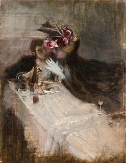 Couple in a restaurant | Giovanni Boldini | Oil Painting