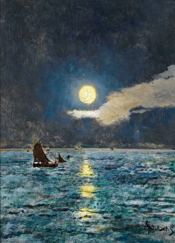Fishing Boats in the Moonlight   Alfred Emile Leopold Stevens   Oil Painting