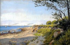 Julebæk near Helsingør with view of Øresund and Kronborg Castle | Theodor Philipsen | Oil Painting