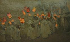 Jubilee Procession in a Cornish Village   George Sherwood Hunter   Oil Painting