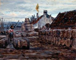Stacking Salt Herring Barrels | George Sherwood Hunter | Oil Painting