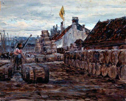 Stacking Salt Herring Barrels   George Sherwood Hunter   Oil Painting