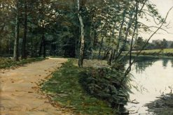 Woodland Path by Water   George Sherwood Hunter   Oil Painting