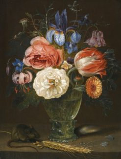A still life of flowers in a roemer with a field mouse and an ear of wheat | Clara Peeters | Oil Painting