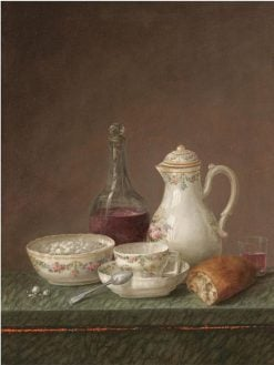 A still life with a carafe of wine