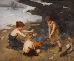 The camp fire | Simon Glucklich | Oil Painting