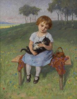 Girl with a Cat | Simon Glucklich | Oil Painting