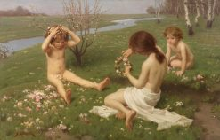Children on a meadow in blossom | Simon Glucklich | Oil Painting