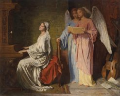 St. Cecilia Accompanied by Angels | Simon Glucklich | Oil Painting