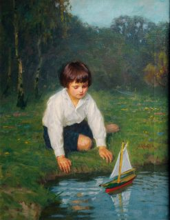 Boy with a Sailboat | Simon Glucklich | Oil Painting