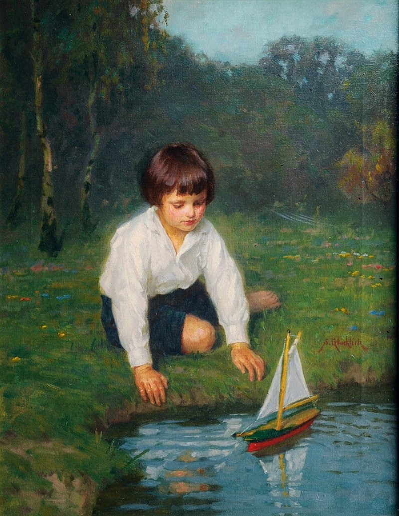 Boy with a Sailboat Painting   Simon Glucklich Oil Paintings
