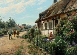 Village Life on a Nice Summer Day | Peder Mork Mønsted | Oil Painting