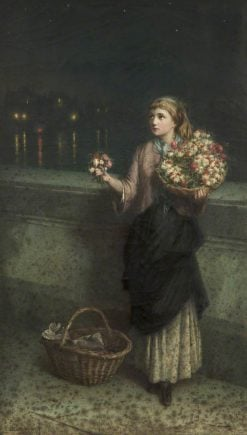 A Flower Seller on London Bridge | Augustus Edwin Mulready | Oil Painting