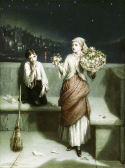 A London Crossing Sweeper and Flower Girl | Augustus Edwin Mulready | Oil Painting