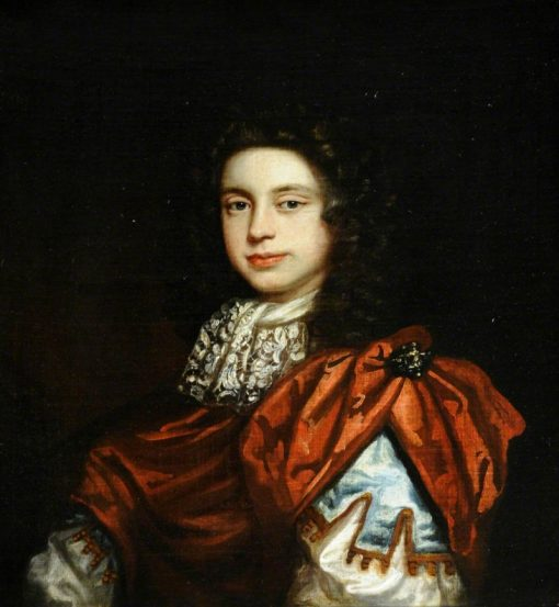 Portrait of an Unknown Young Man Wearing a Red Cloak and a Lace Cravat   Thomas Hawker   Oil Painting