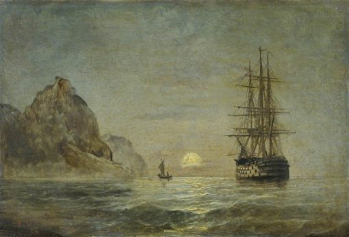 A Three-Decker off a Headland by Moonlight | Edward Hoyer | Oil Painting