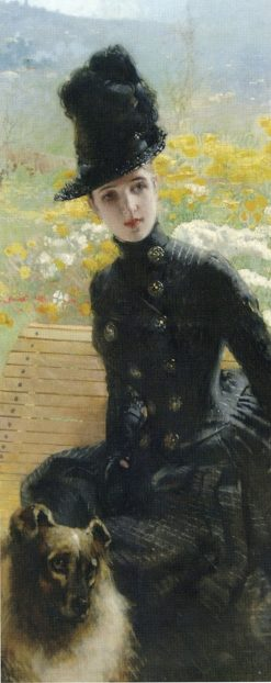 Lady with a Dog | Vittorio Matteo Corcos | Oil Painting