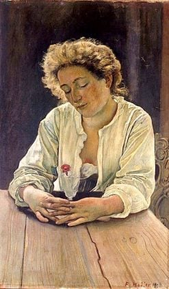 Young woman with carnation | Ferdinand Hodler | Oil Painting