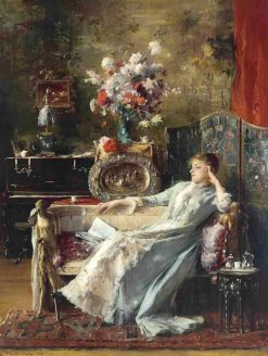 Young Woman Sitting on a Sofa   Mihály Munkácsy   Oil Painting