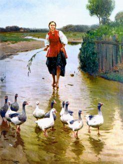 The Goose Girl | Nikolai Pimonenko | Oil Painting