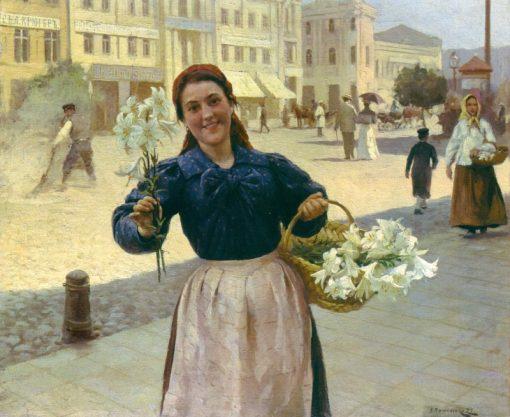 Flower Seller. Kiev   Nikolai Pimonenko   Oil Painting